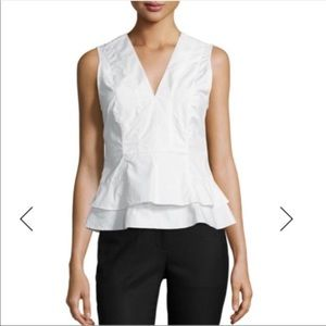 Poplin V-Neck Peplum Top, Soft White, 4